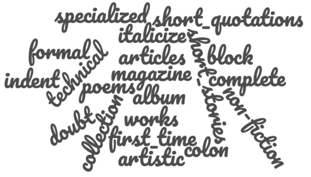 Quotation marks are used to indicate words used is a special way, for euphemisms (polite way to say things), artistic works in a collect (like an album or a series), nicknames, or technical terms the reader might not know.