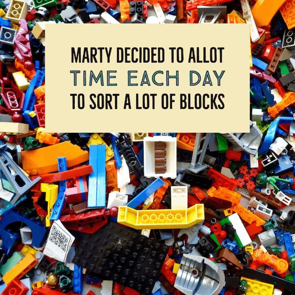 Marty decided to allot time each day to sort a lot of blocks.