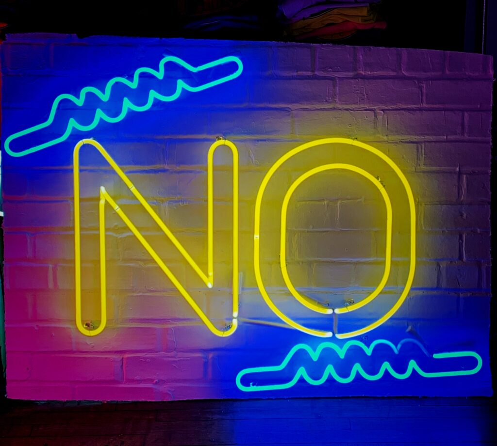 No and its negative relatives deny, refuse, oppose, reject, undo whatever.